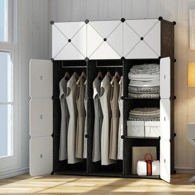 樹脂衣櫃 簡易組裝塑料布衣櫥租房省空間仿實木板式簡約現代經濟型櫃子ღ九歌♬