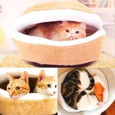 烘焙貓❤️大漢堡 貓狗窩-溫暖馬卡龍睡床 睡窩 睡床 犬貓適用 貝殼窩 貓睡窩 狗睡窩 睡床