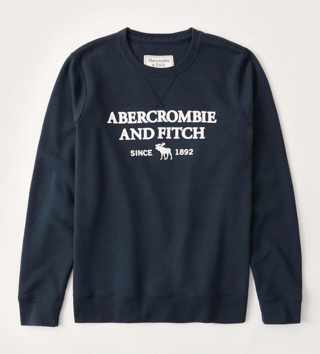 AF Abercrombie and Fitch 麋鹿 浮印絨毛 Logo 大學T 藍色