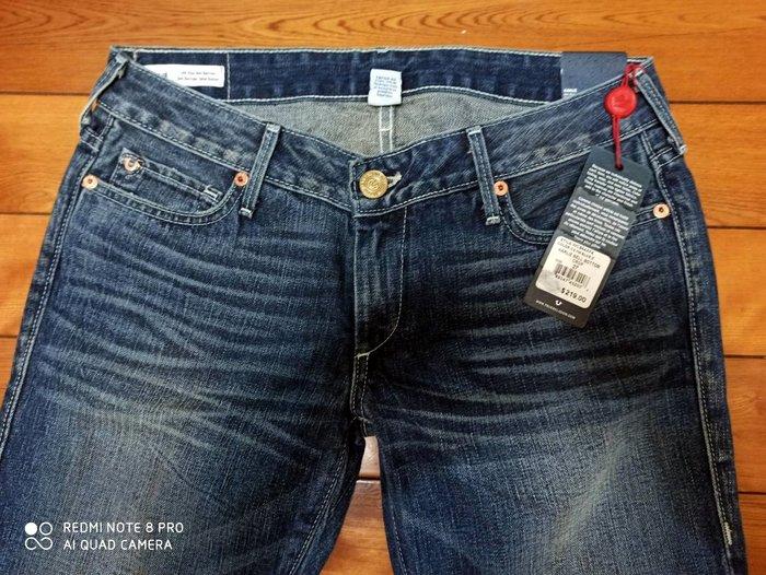 219美金27現貨賠售【美國Levis專賣】USA製True Religion 彌勒佛 Cropped深藍七分靴型牛仔褲