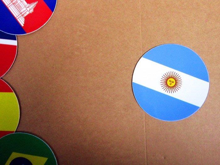 【衝浪小胖】阿根廷國旗圓形登機箱貼紙/抗UV防水/Argentina/世界多國款可客製