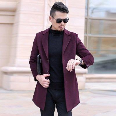 毛呢 外套 風衣大衣-純色西裝領單排扣休閒男外套3色73uo14[獨家進口][米蘭精品]