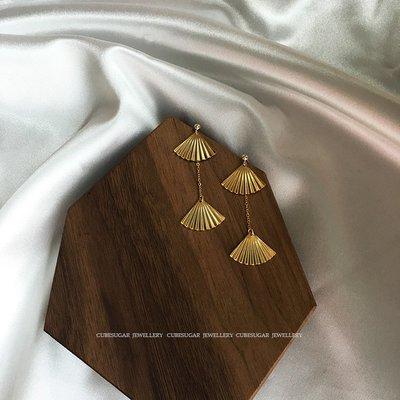 Lissom韓國代購~時髦洋氣款!美國14k包金 高保色銅鍍金扇子扇面 長款耳環耳飾
