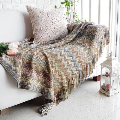 ❤伊頓家居❤北歐波西米亞沙發毯沙發套蓋巾單人雙人老虎椅全蓋沙發墊柔軟流蘇 咖波浪紋