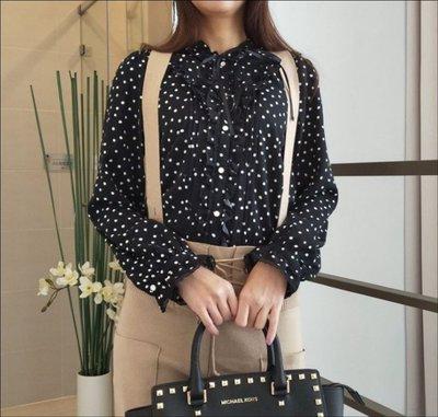 日本直送※日本品牌axes波浪夾蕾絲緞帶領結前開扣波點經典黑色上衣【馬克太太】