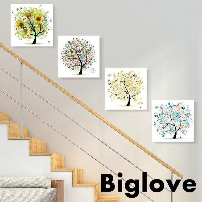 樓梯間掛畫發財樹幸福樹裝飾畫現代簡約風格餐廳客廳墻壁畫組合畫