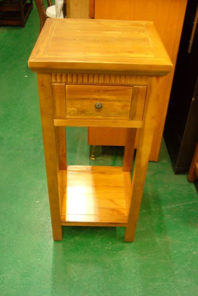 宏品二手家具 柚木傢俱4折拍賣 C068高樟木花瓶架 電話架 角落架 全實木藝品展示架 邊桌櫃 高低櫃 電視櫃