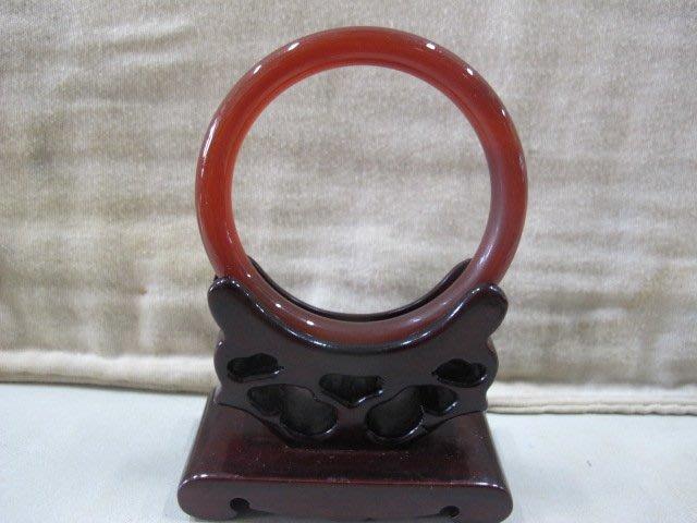 二手舖 NO.3706 天然紅玉髓 玉石手鐲 玉鐲 玉環 首飾飾品