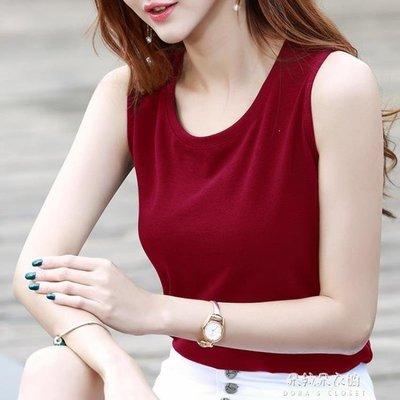 ZIHOPE 無袖背心女夏季外穿百搭寬鬆休閒內搭打底韓版大碼紅色圓領T恤女ZI812