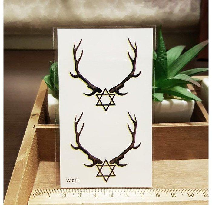 【萌古屋】六角星羊角 - 男女防水紋身貼紙刺青貼紙SY-01