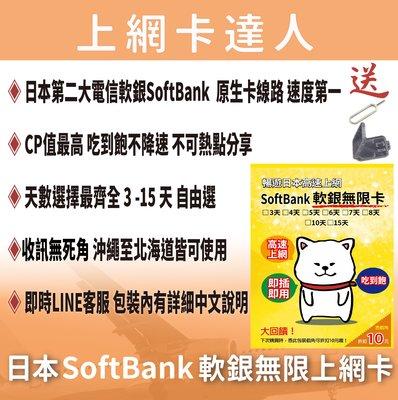 日本軟銀無限卡 5天 不降速 吃到飽免設定 4G 2020/05/31前皆可使用 softbank  日本 上網卡 網卡
