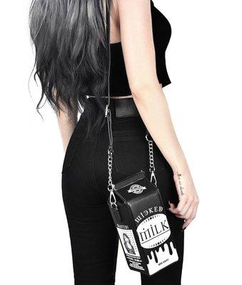 【-Sin-海外代購】 黑暗系可愛風 牛奶包裝造型側肩包 黑色