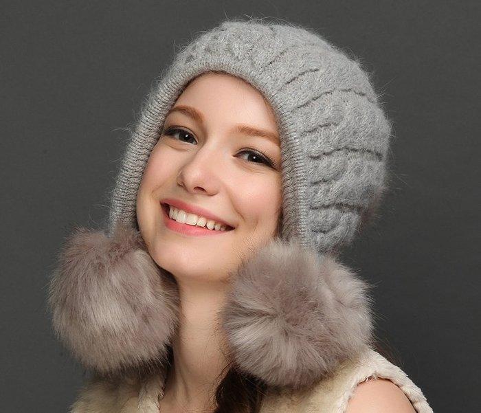 SR法式氣質毛呢帽女帽子 大毛球毛線帽 貝蕾帽 加厚兔毛羊毛保暖帽甜美小臉毛線帽 生日禮物 情人節禮物  灰 現貨