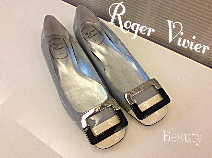 *Beauty*Roger Vivier灰色漆亮皮平底鞋 37號  全新 WE16