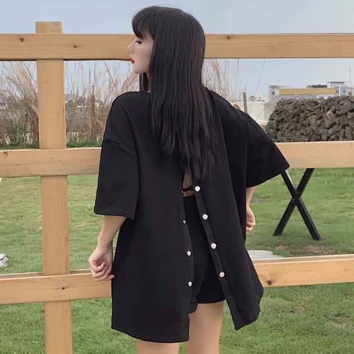小香風 短袖T恤 時尚穿搭 韓版 寬松百搭設計感后背紐扣抽繩大口袋短袖T恤女裝