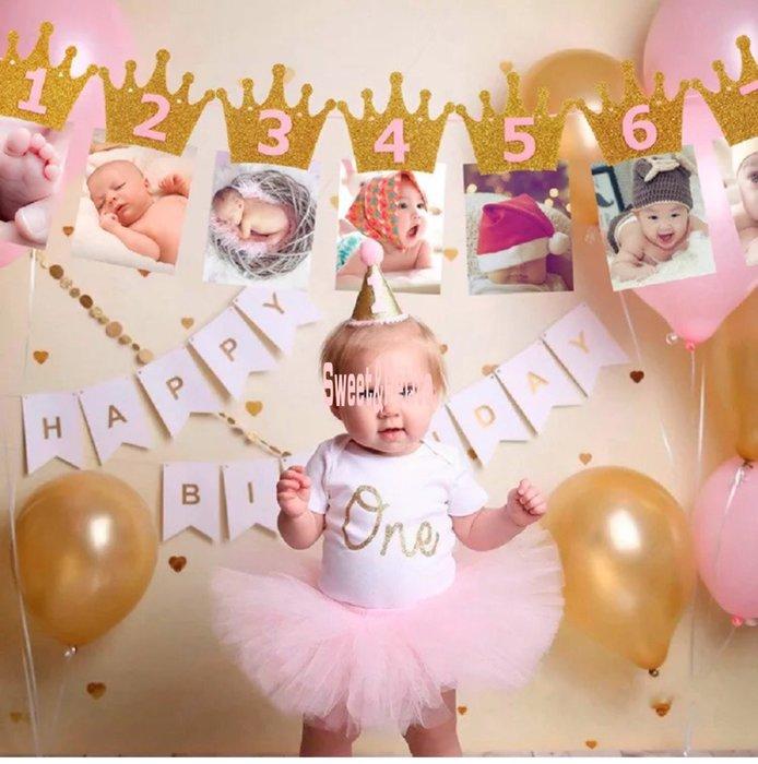PR484❤皇冠款寶貝生日月份佈置組❤ 嬰兒滿月 新生兒 成長紀錄 1-12 months 新生寶寶 周歲派對 抓週佈置