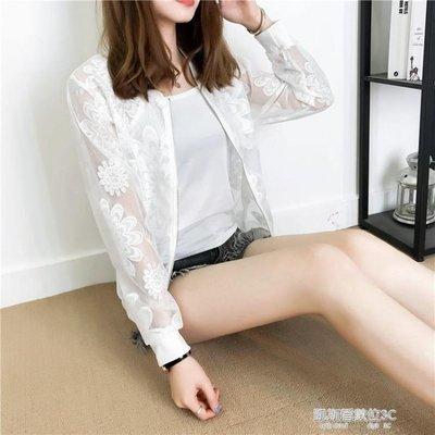 度假沙灘防曬衣女春夏裝短款棒球服小開衫薄款網紗空調衫