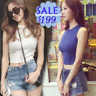#女神衣櫥#韓版短款高腰露臍針織背心上衣女純色緊身外穿無袖針織衫打底背心