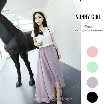 ***Sunny Girl*** [SL0002]韓版氣質不規則下擺側面開叉雪紡裙半身裙 長裙 4色