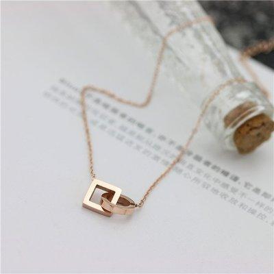 項鏈  玫瑰金钛鋼配飾品  簡約镂空方形氣質 短款鎖骨鏈  情人節 生日禮物 —莎芭