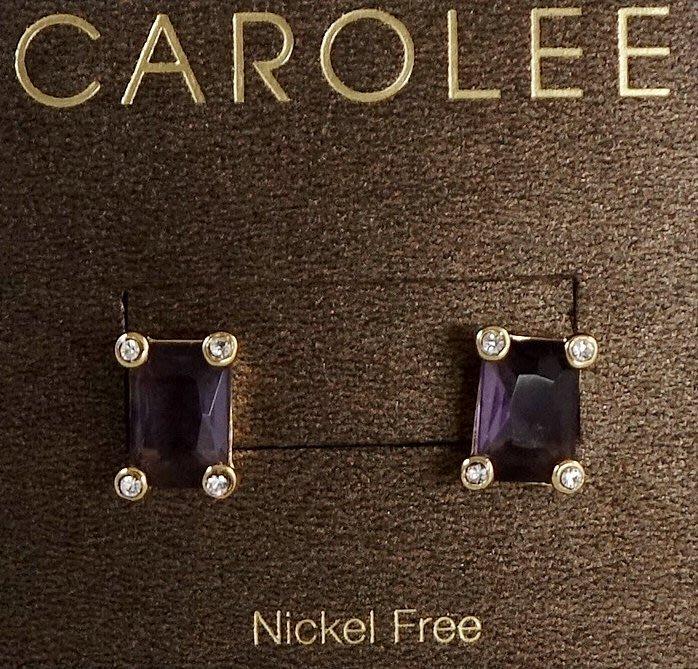 全新美國帶回 CAROLEE 鑲翡翠切割方式之紫水晶穿式耳環,附原廠防塵袋與禮盒,只有一件!低價起標無底價!免運費!