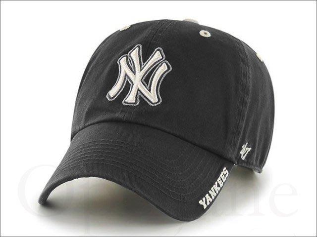 47 BRAND NEW YORK YANKEES 美國大聯盟職棒洋基隊黑色棒球帽鴨舌帽 明星藝人最愛 愛COACH包包