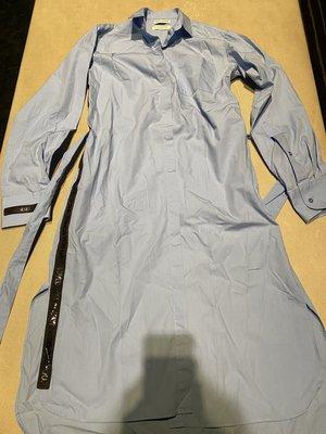 法國品牌 EACH X OTHER 藍色造型綁帶長版襯衫 連身裙 長外套 限量商品