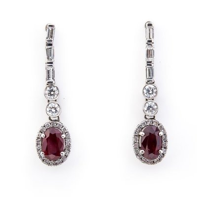 【JHT 金宏總珠寶/GIA鑽石專賣】2.06ct天然紅寶鑽石耳環/材質:18K(R00038)