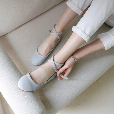 【蘑菇小隊】纖夢纖盈娃娃淑女芭蕾平底鞋綁帶鞋女瑪麗珍圓頭淺口清新少女單鞋-MG32621