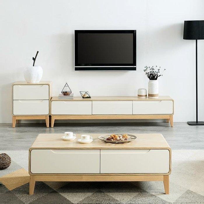 茶几 電視櫃 北歐茶幾水曲柳原木色日式現代實木客廳小戶型白色茶幾電視櫃組合XW一件免運