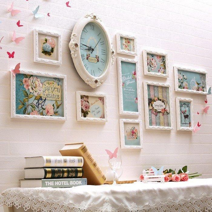 照片牆長方形相框歐式創意相片牆花語時鐘客廳臥室寶寶掛牆組合