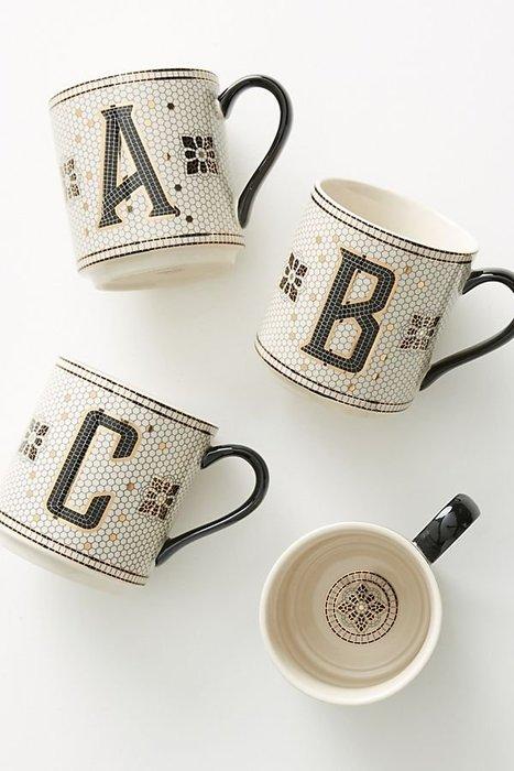 美國鄉村Anthropologie 法國小酒館瓷磚字母馬克杯Tiled Margot Monogram Mug