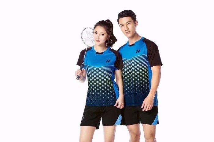 Yonex羽球衣勝利羽球衣YY羽球衣 透氣男女款黑色短袖乒乓球服套裝