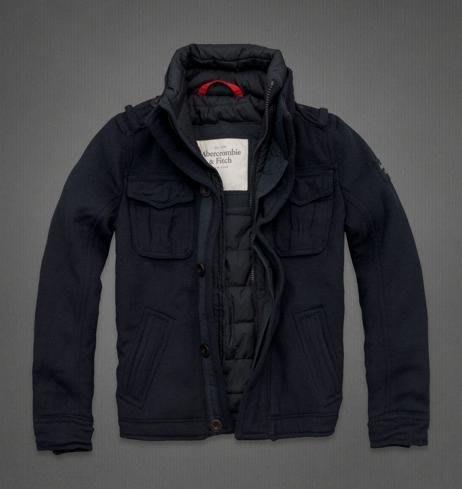 【Abercrombie & Fitch】AF Logo標誌 男裝 羊毛 立領外套 軍裝式夾克 保暖 鋪棉外套 深藍色