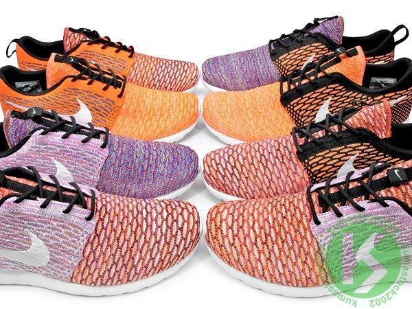 絕跡再入荷 NIKE ROSHERUN FLYKNIT 左右腳完全不同色 橘紫紅黑 彩虹混色 677243-100