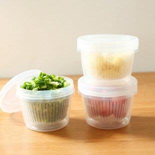 ?拉拉Lala's shop?水果蔥花保鮮盒廚房薑蒜收納盒冰箱便攜塑料圓形瀝水密封盒