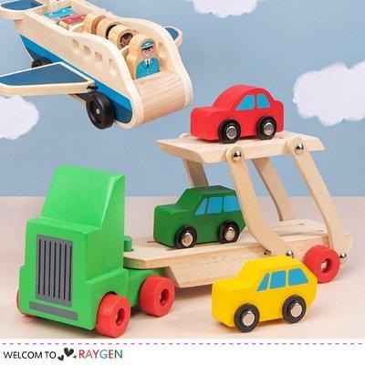 八號倉庫 木製托運車飛機造型組 交通運輸 益智玩具【3B042M528】