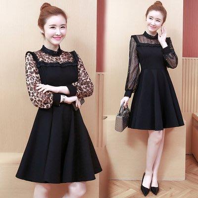 時尚洋裝 連身裙L-5XL大尺碼大碼女裝2019新款蕾絲拼接收腰顯瘦氣質大擺連衣裙3F046A-6636