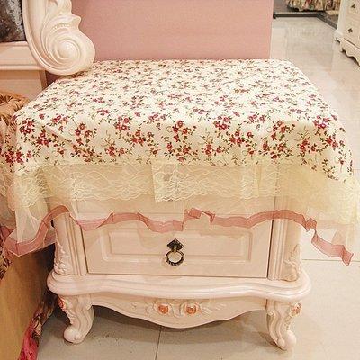 【蕾絲家族】~*家飾*~田園風格 小玫瑰花布桌巾 檯布 床頭櫃巾 多用巾 冰箱巾寬60*60公分