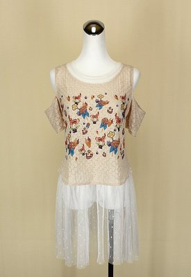 貞新 PLAIN VANILLA 韓 駝色圓領兩件式棉質網紗洋裝F號(23413)