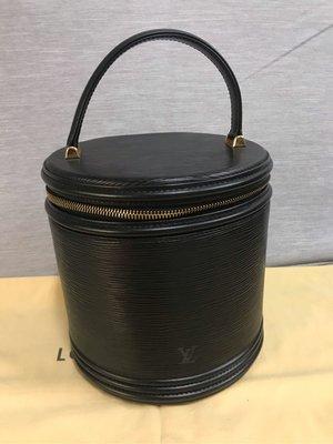 ❤️ LV 黑色EPI 水波紋 真皮 硬殼 化妝箱 珠寶 飾品盒 圓桶 圓筒包 麂皮內裡 古董 復古 收藏款 裸包價 真品 正品