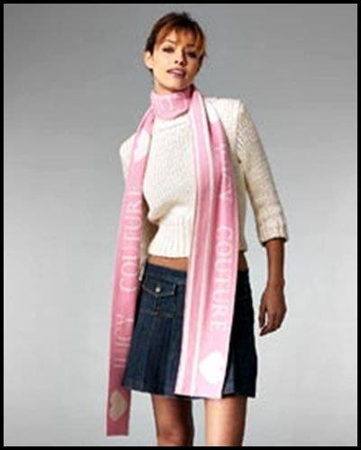 JUICY COUTURE 100% Cashmere Scarf 白&粉紅愛心兩面可用圍巾送JUICY粉紅色紙袋提袋