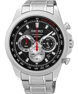 【金台鐘錶】SEIKO 精工 競速計時腕錶-黑/45mm(8T63-00F0D) SSB241P1 SSB241