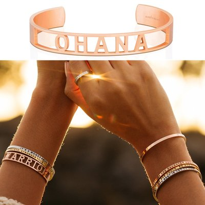MANTRABAND 美國悄悄話 OHANA 玫瑰金手環 新款小寬版 一輩子的家人與支持