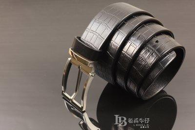 『老兵牛仔』LB-1002進口頭層牛皮商務針扣皮帶/頭  層牛皮/復古/彈力/耐拉/個性