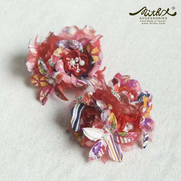 【MITHX】櫻福,花宴,小側夾胸針,造型髮飾-紅