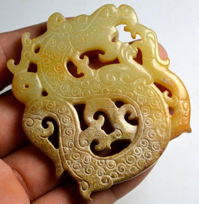 [天地居] 漢 帶沁和闐鏤空穀紋龍鳳玉珮 雙面雕工 0605