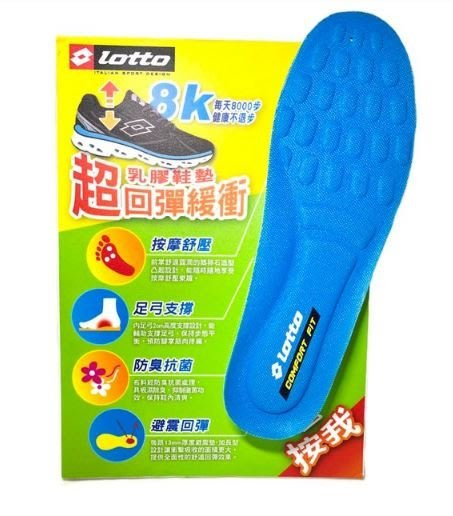 暢銷 LOTTO 樂得(男) 乳膠鞋墊 超回彈 緩衝 運動鞋墊 LT7CMI0186 藍綠 [迦勒]