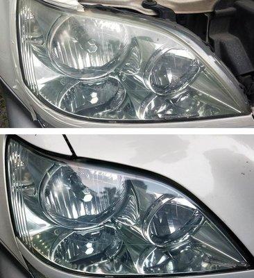 大燈快潔現場施工 LEXUS 凌志 RX300 原廠大燈泛黃霧化拋光翻新處理