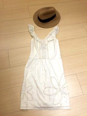 Juicy couture 白色 超可愛荷葉邊點點造型棉質洋裝***kiito kenzo chesty
